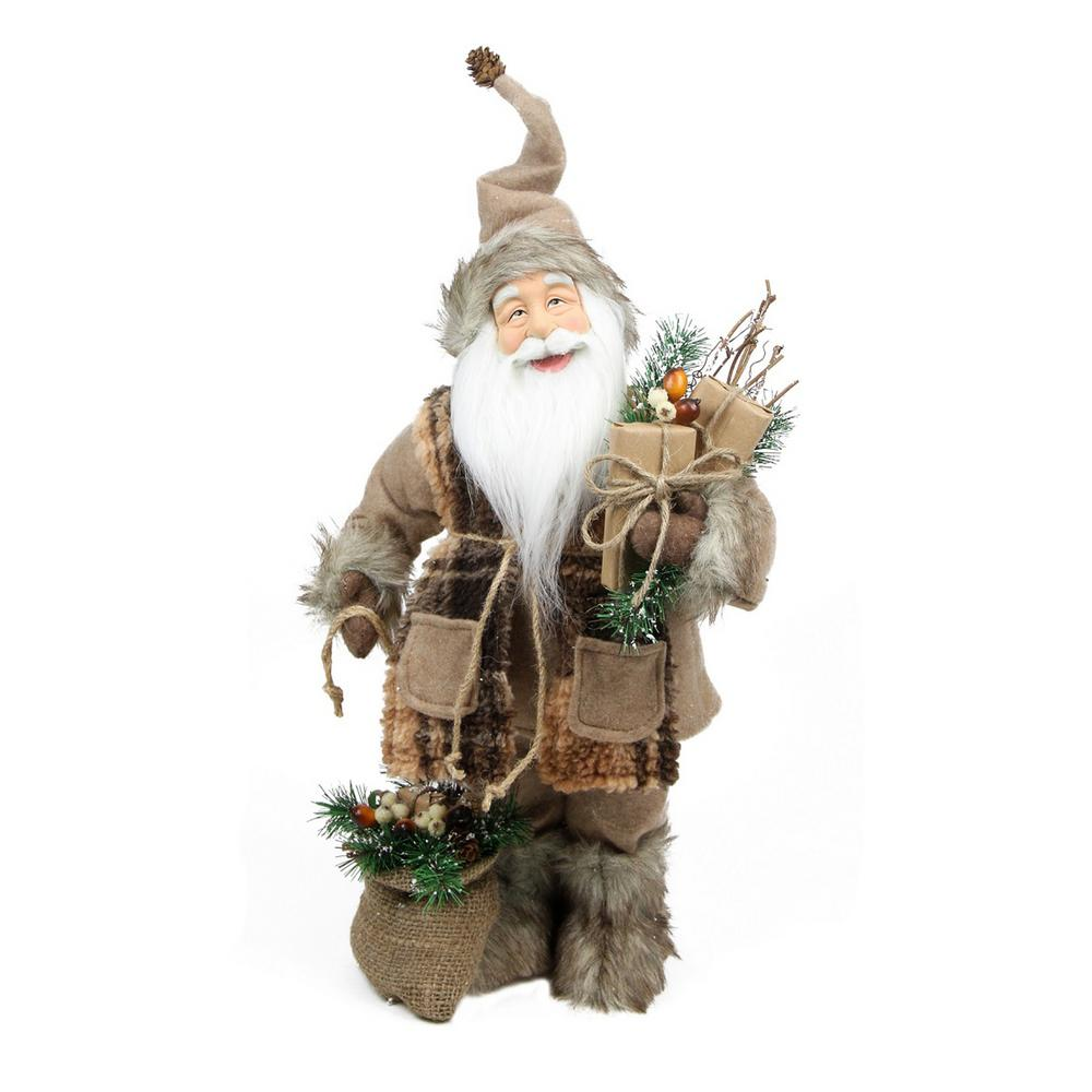 Northlight 24 in. Rustic Lodge Standing Santa Claus in Camel Brown Checkered Scarf with Gifts Christmas Figure This Santa Claus is full of rustic country charm from his faux fur boots to his natural camel brown clothing. Santa is holding gifts in his left hand and a brown burlap sack in his right that has frosted pine needles twigs white berries and brown nuts. Santa feet is jolly blue eyes round chubby cheeks and friendly smile will be a nice cheery addition to your Christmas decor. Atop Santa feet is pose-able hat is a decorative pine cone. Recommended for indoor use. Dimensions: 24 in. H x 16 in. W x 9 in. D. Materials plastic/fabric/burlap/pine cones/jute.
