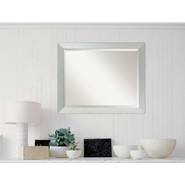 Brushed Sterling Silver Wood 32 in. W x 26 in. H Contemporary Framed Mirror