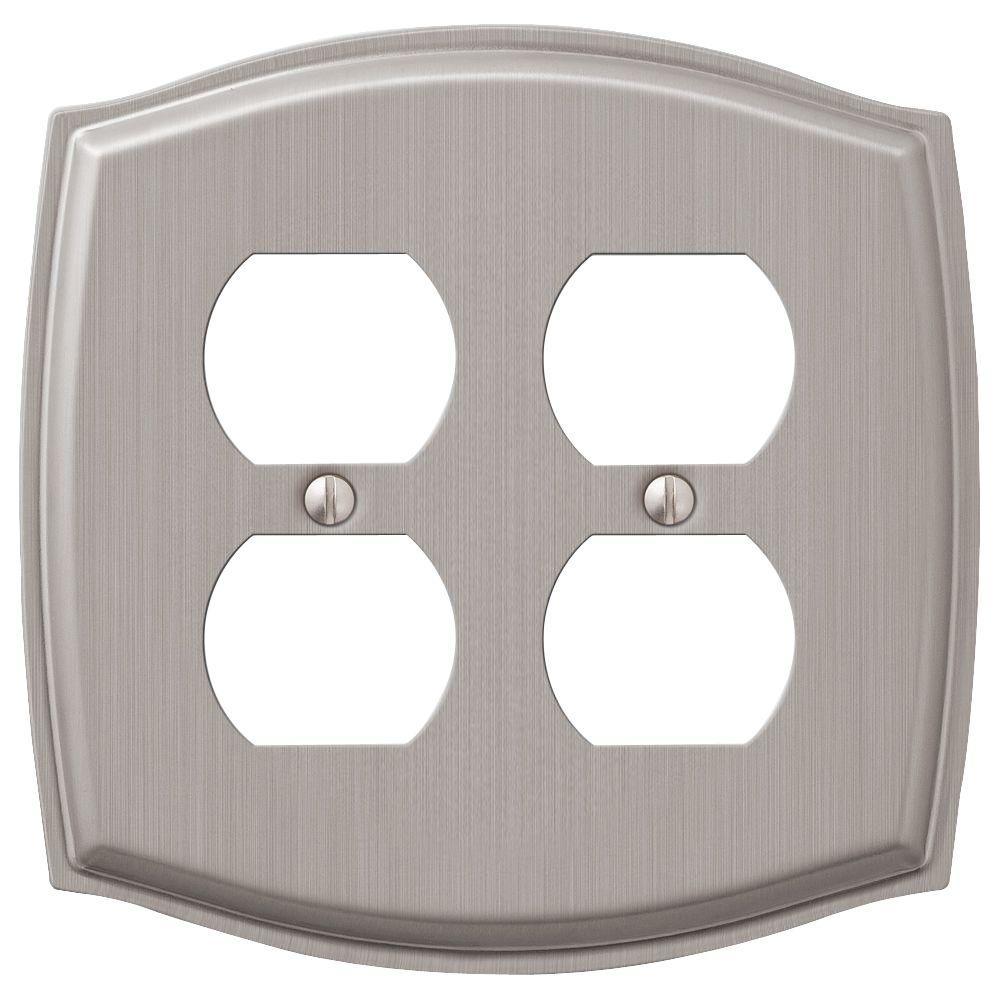 Vineyard 2 Gang Duplex Steel Wall Plate - Brushed Nickel