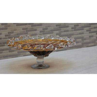 16 in. Fluted Translucent Amber Glass Tray