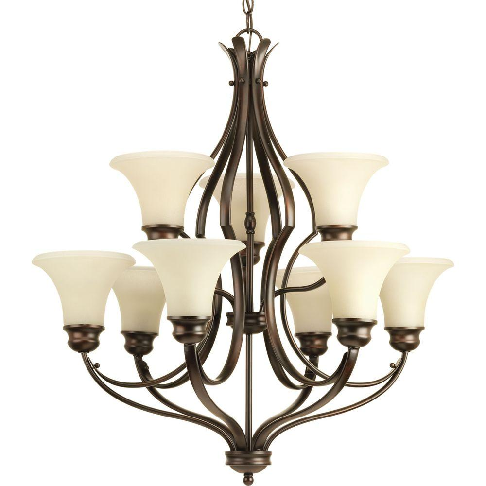 Applause Collection 9-Light Antique Bronze Chandelier with Shade with Natural