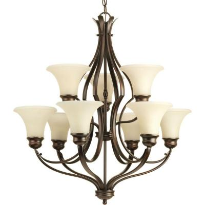 Applause Collection 9-Light Antique Bronze Chandelier with Natural Parchment Glass Shade