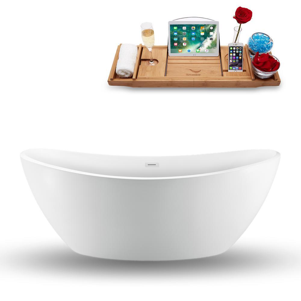 74.8 in. Acrylic, Fiberglass Flatbottom Non-Whirlpool Bathtub in Glossy White