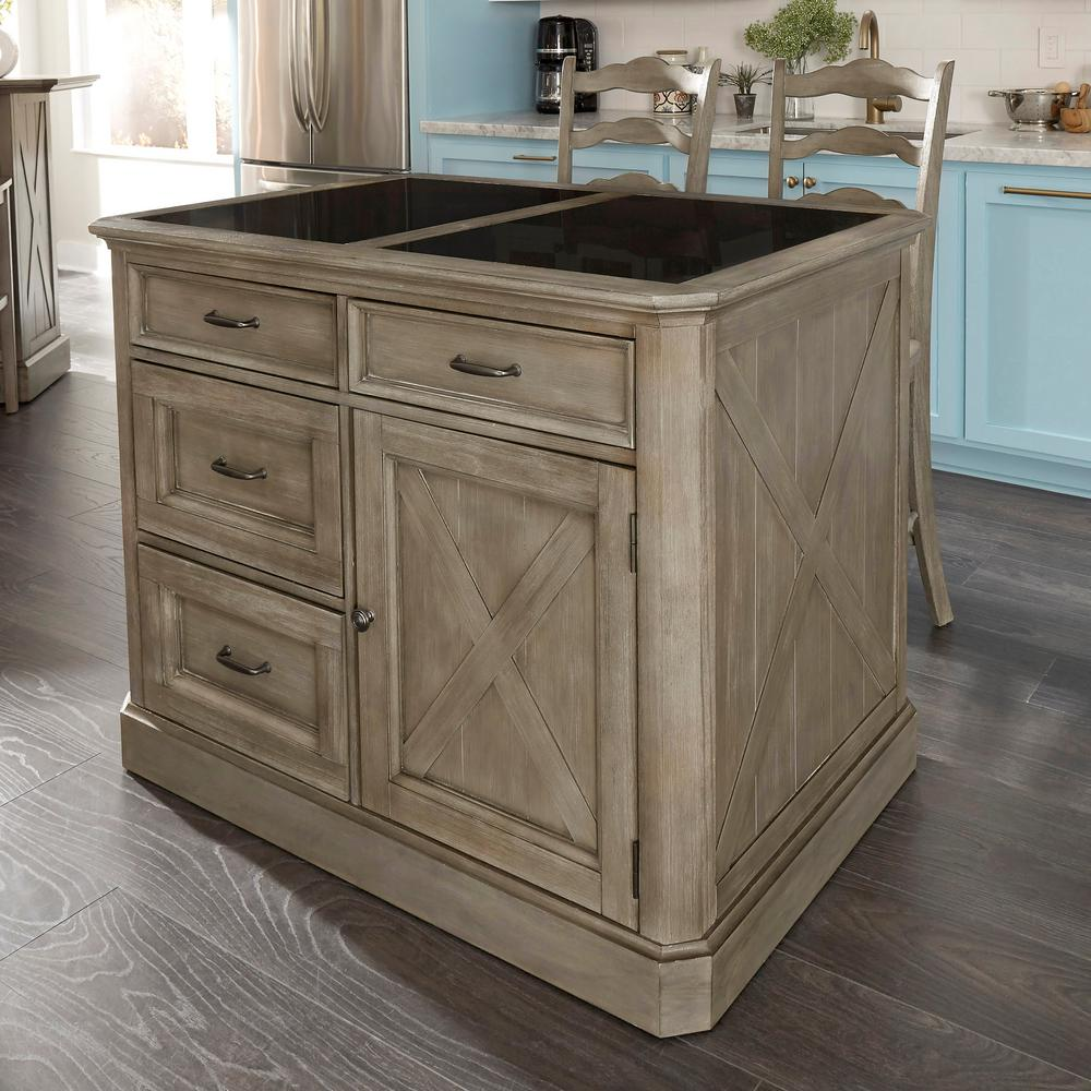 Homestyles Mountain Lodge Gray Kitchen Island Granite Top