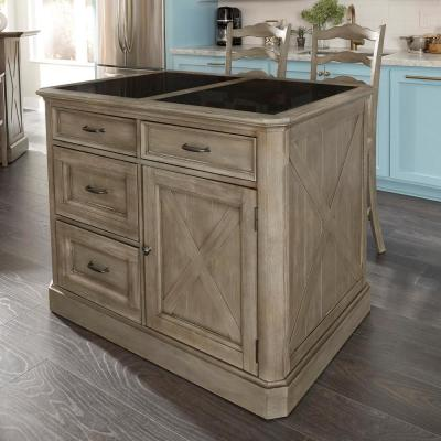 Mountain Lodge Gray Kitchen Island Granite Top with 2-Stools