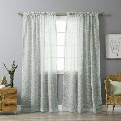 84 in. L Grey Sheer Ikat Printed Curtain Panel (2-Pack)