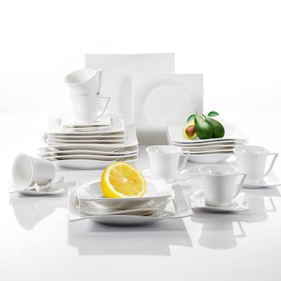 30-Piece Classic White Porcelain Dinnerware Set Plates and Cups (Service for 6)