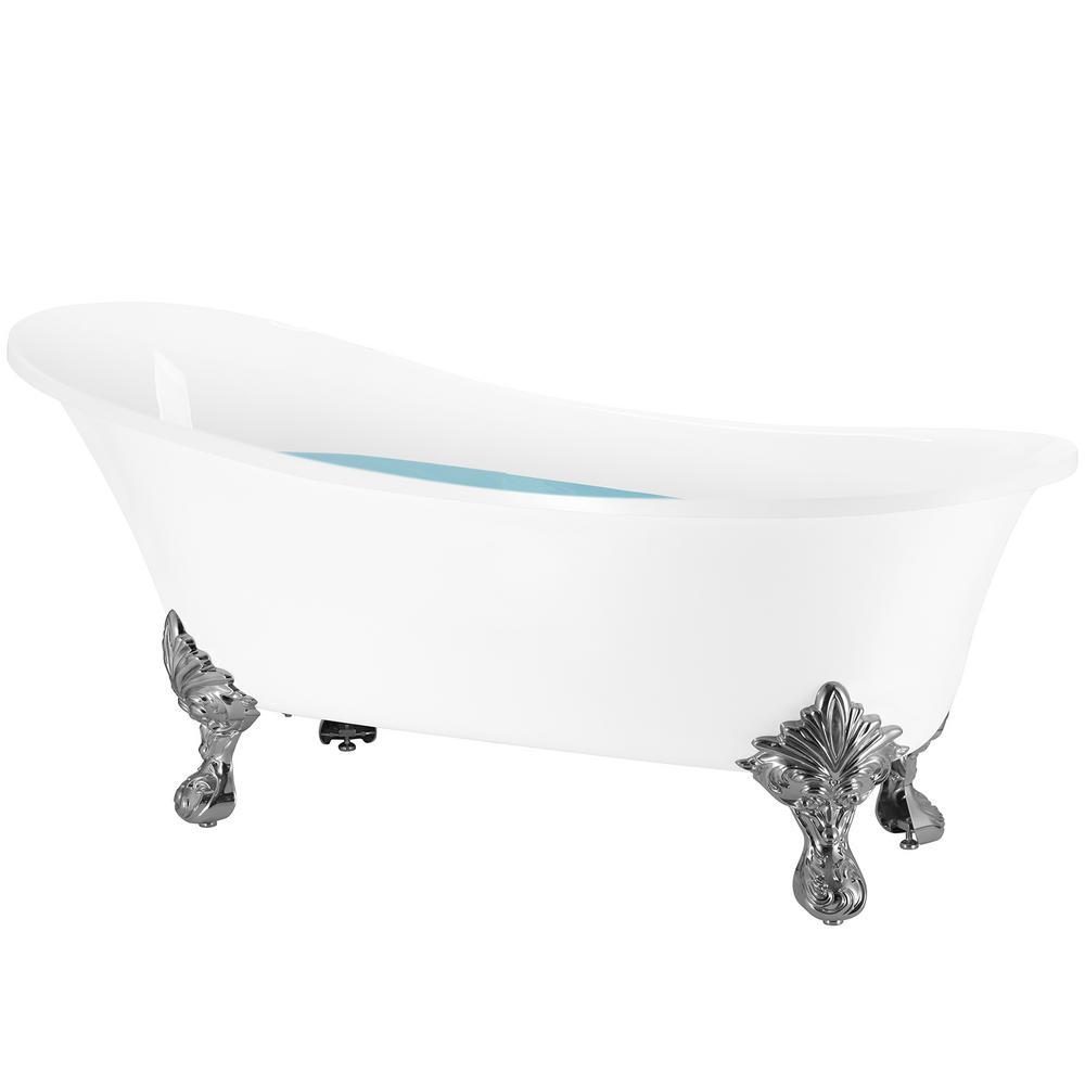 Clawfoot Bathtub - 69 in. Glossy White Acrylic Bathtub - Modern Flat Bottom Stand Alone Tub - Luxurious SPA Tub