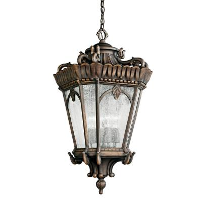 Tournai 4-Light Bronze Outdoor Pendant Light with Clear Seeded Glass