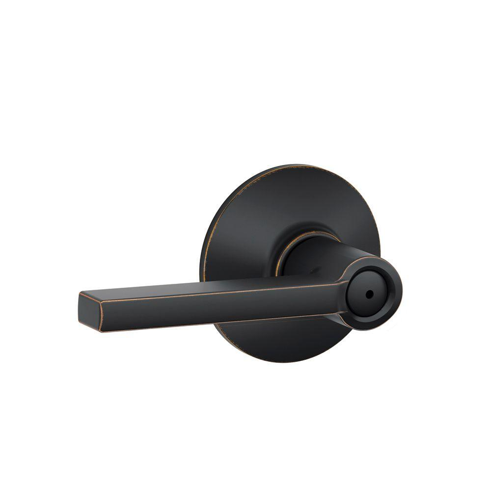Schlage Latitude Aged Bronze Bed and Bath Lever