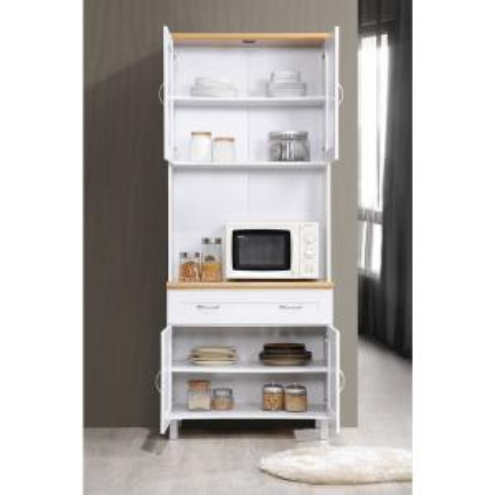 HODEDAH China Cabinet White with Microwave Shelf HIK92 WHITE ...