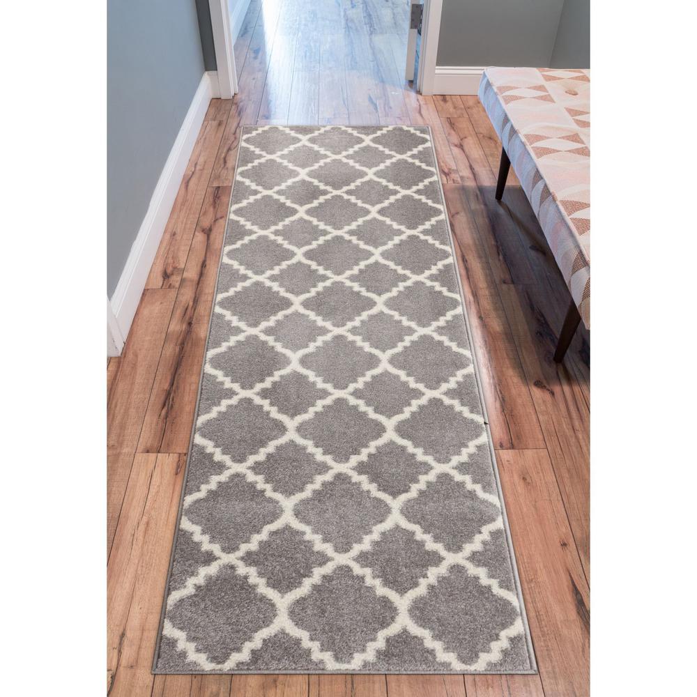 Sydney Lulu's Lattice Moroccan Trellis Grey 3 ft. x 10 ft. Runner Rug