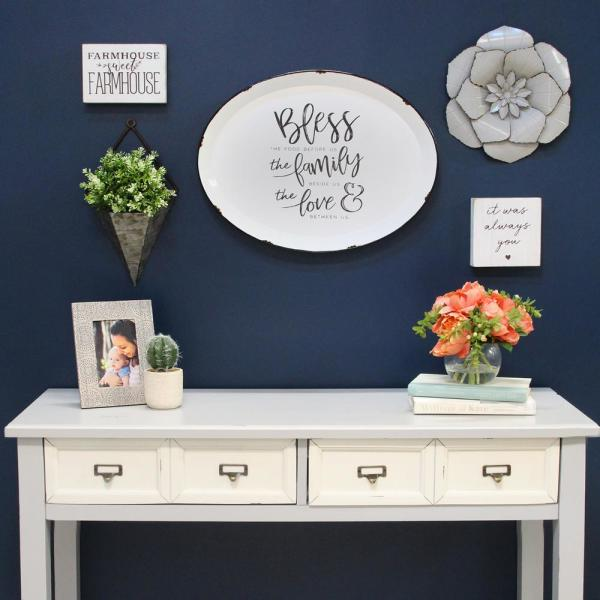Stratton Home Decor Bless Family And Love Metal Plate Wall Decor S15033 The Home Depot