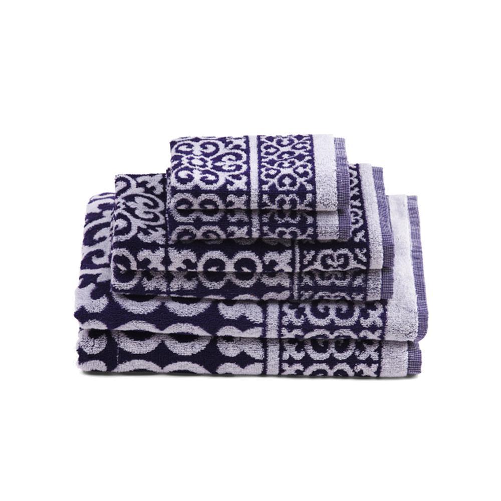 Arabesque 6-Piece 100% Cotton Bath Towel Set in Navy