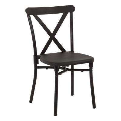 Black Aluminum Stacking Dining Chair (4-Pack)
