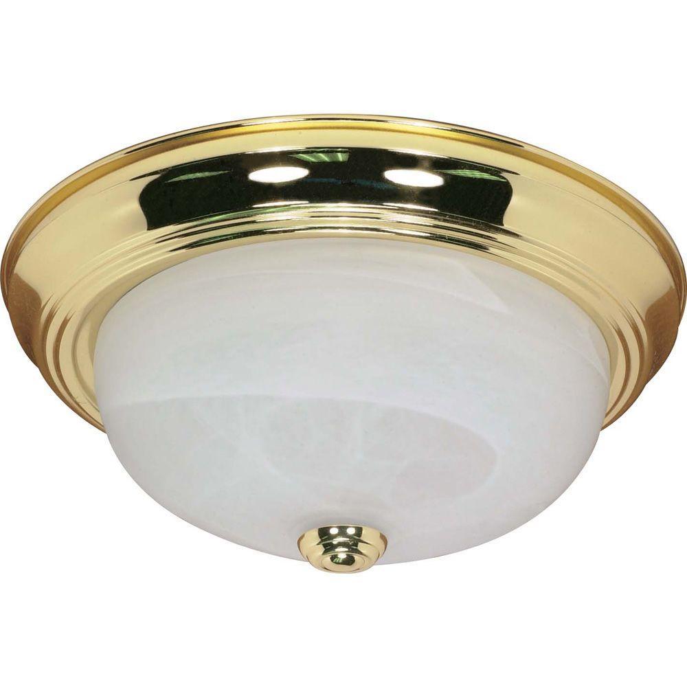 Elektra 2-Light Polished Brass Flush Mount with Alabaster Glass