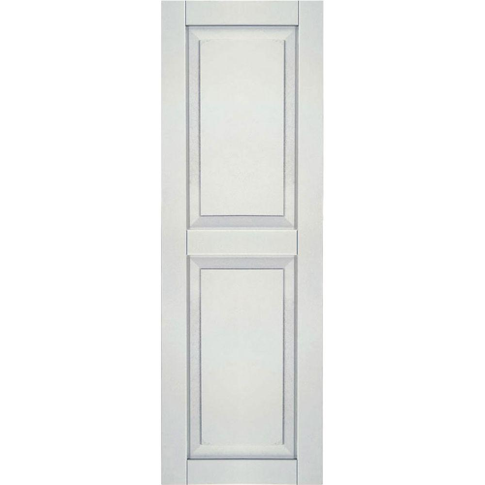 Ekena Millwork 12 in. x 31 in. Exterior Composite Wood Raised Panel Shutters Pair White