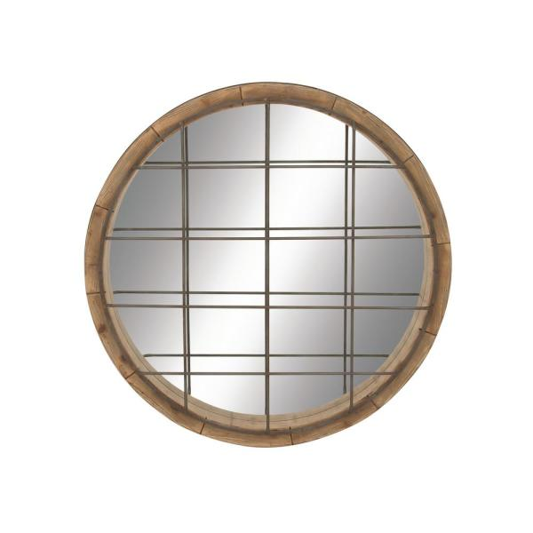 Large Round Natural Modern Mirror (48 in. H x 48 in. W)