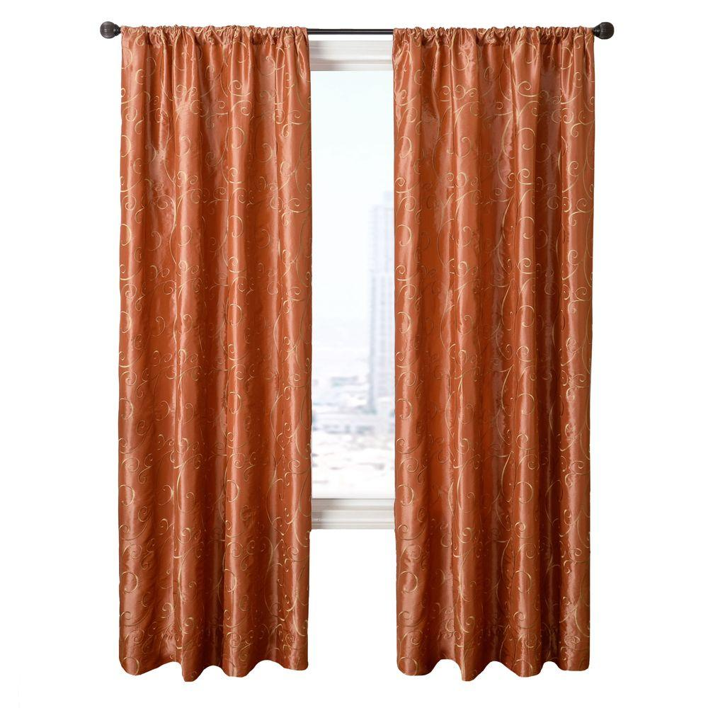 Home Decorators Collection Sheer Pumpkin Chateau Rod Pocket Curtain - 55 in.W x 84 in. L