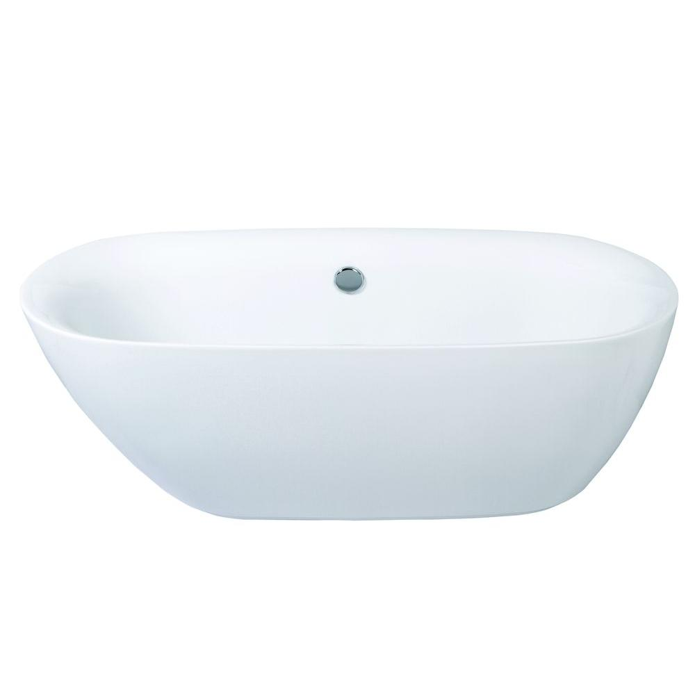 Modern 5.6 ft. Acrylic Center Drain Double Ended Flatbottom Non-Whirlpool