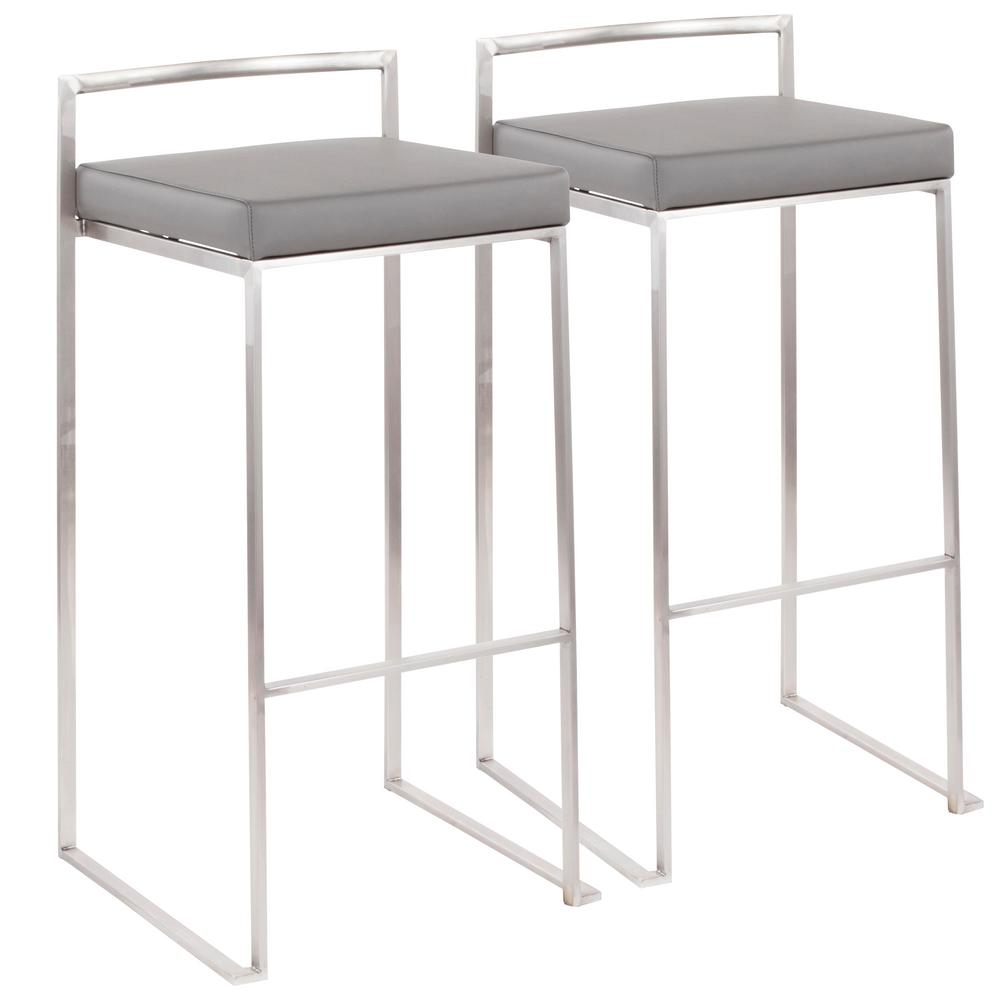 Fuji 30 in. Stainless Steel Stackable Bar Stool with Grey Faux