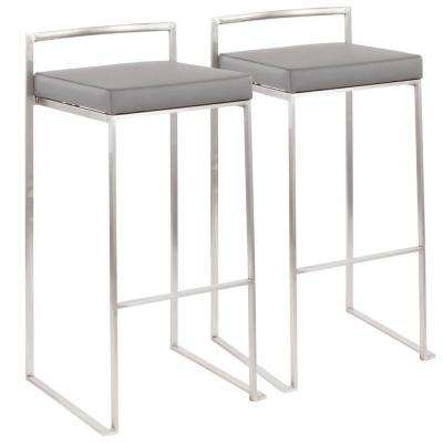 Fuji 30 in. Stainless Steel Stackable Bar Stool with Grey Faux Leather Cushion (Set of 2)
