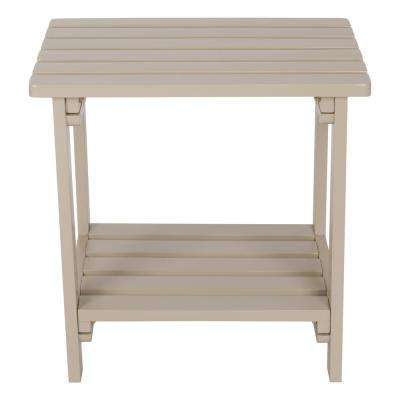 Taupe Gray Rectangular Wood Side Table