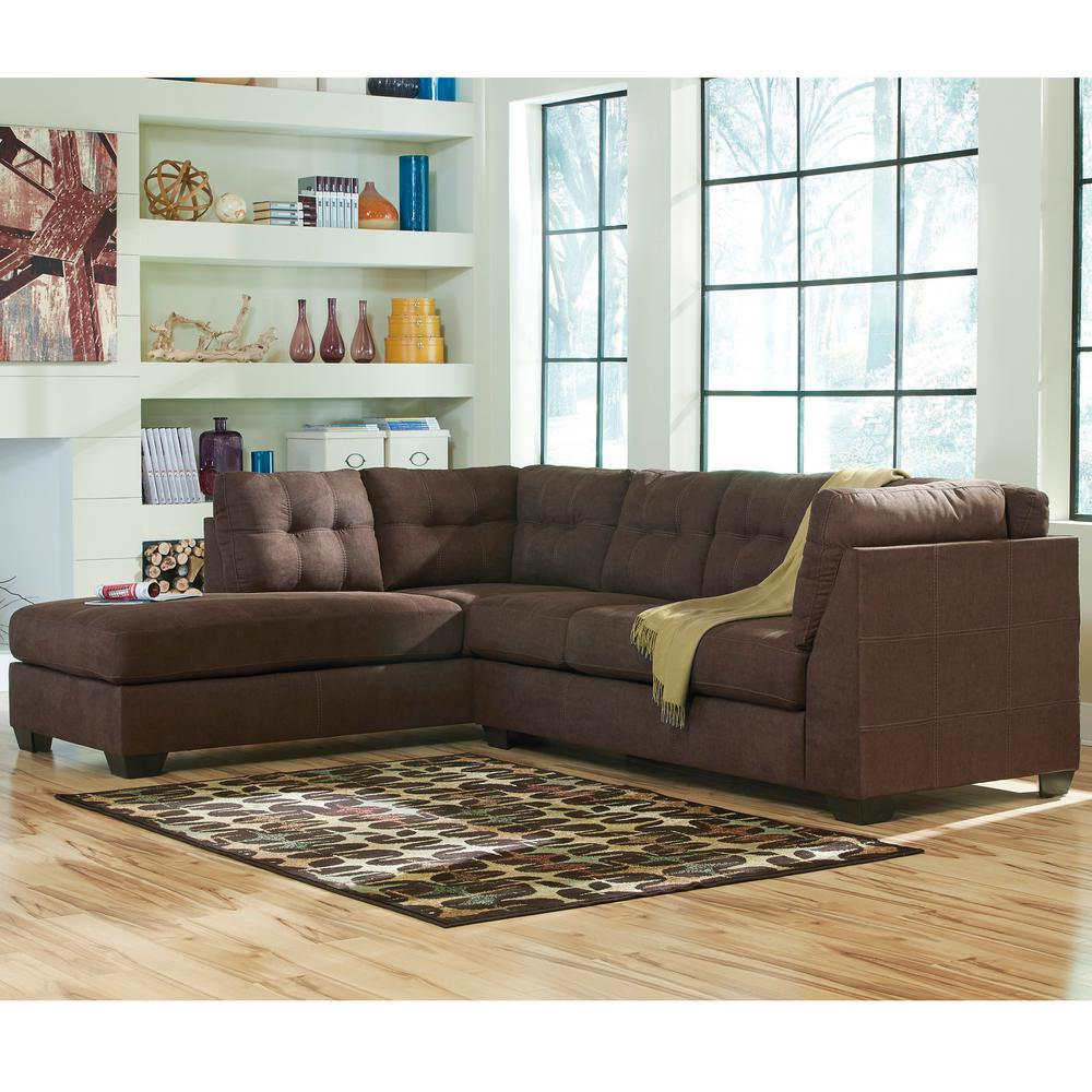 Flash furniture signature design by ashley jessa chocolate for Ashley microfiber sectional with chaise