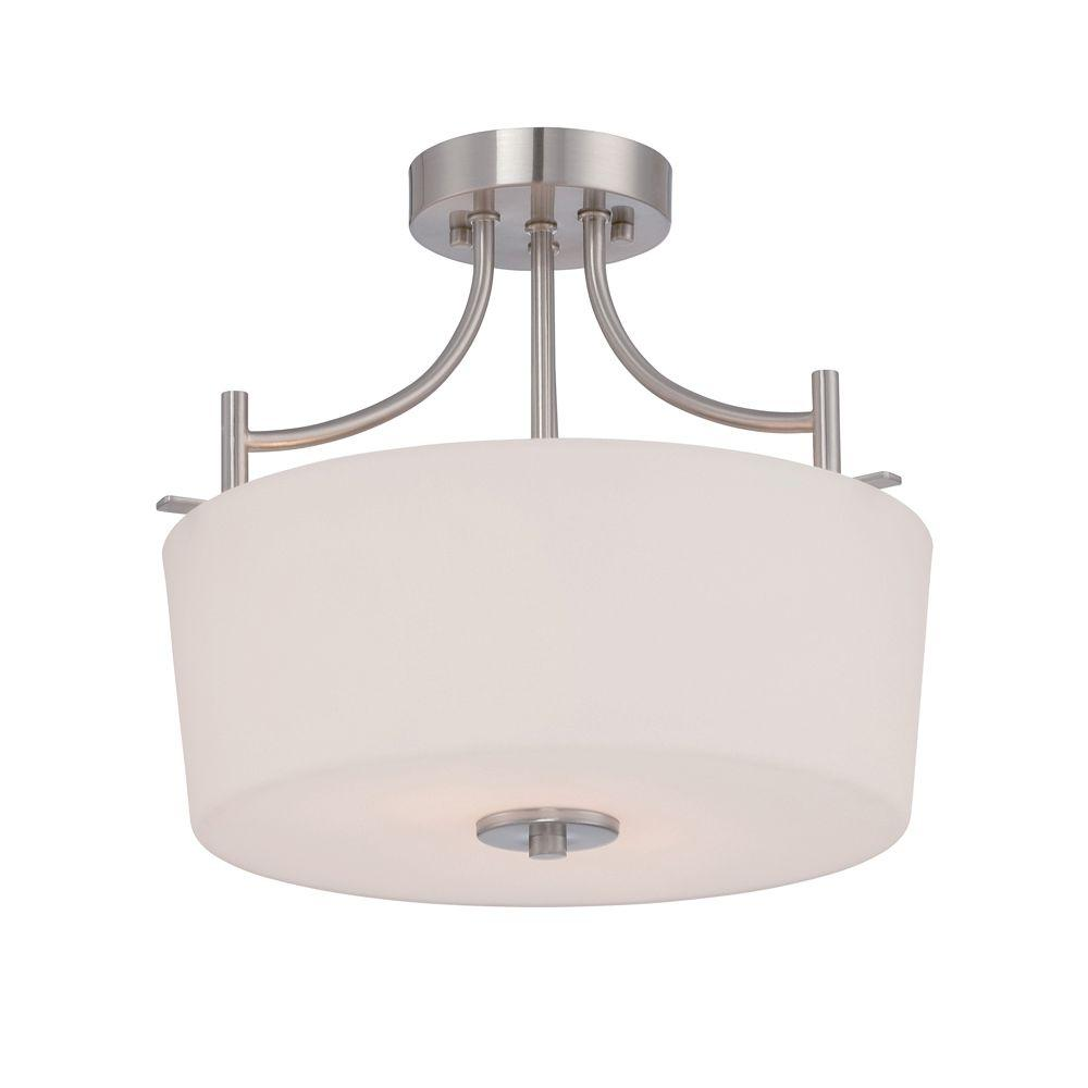 Cassina 2-Light Satin Platinum Semi-Flush Mount