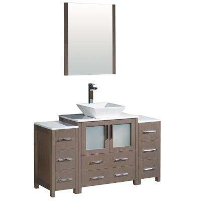 Torino 54 in. Vanity in Gray Oak with Glass Stone Vanity Top in White with White Basin and Mirror