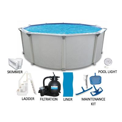 Huntington 21 ft. Round 54 in. Deep Hard Side Above Ground Pool Package with Entry Step System