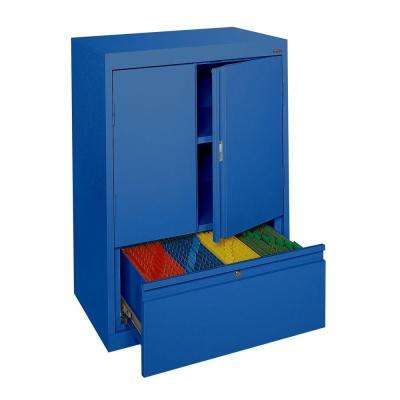 System Series 30 in. W x 42 in. H x 18 in. D Counter Height Storage Cabinet with File Drawer in Blue