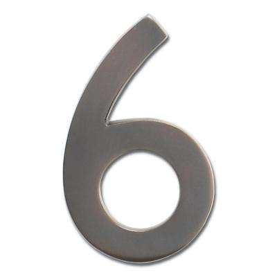 4 in. Dark Aged Copper Floating House Number 6
