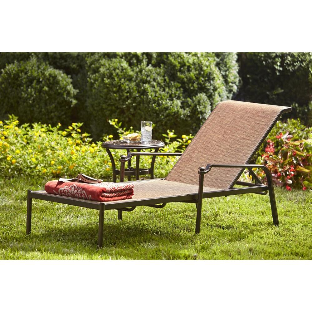 Hampton Bay Niles Park Sling Patio Chaise Lounge Adh04302k01 The Home Depot
