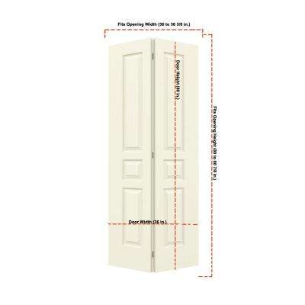 36 in. x 80 in. Avalon Vanilla Painted Textured Hollow Core Molded Composite MDF Closet Bi-fold Door