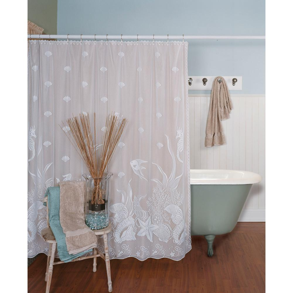 Seascape 72 In W X L White Lace Shower Curtain