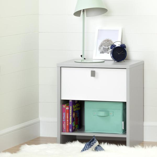 South Shore Cookie 1-Drawer Soft Gray and Pure White Nightstand 10513