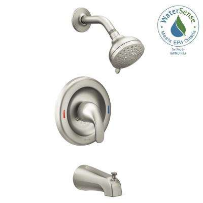 Adler 1-Handle 4-Spray Tub and Shower Faucet with Valve in Spot Resist Brushed Nickel (Valve Included)