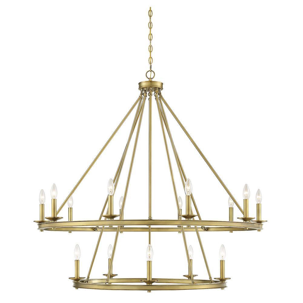15-Light Warm Brass Chandelier