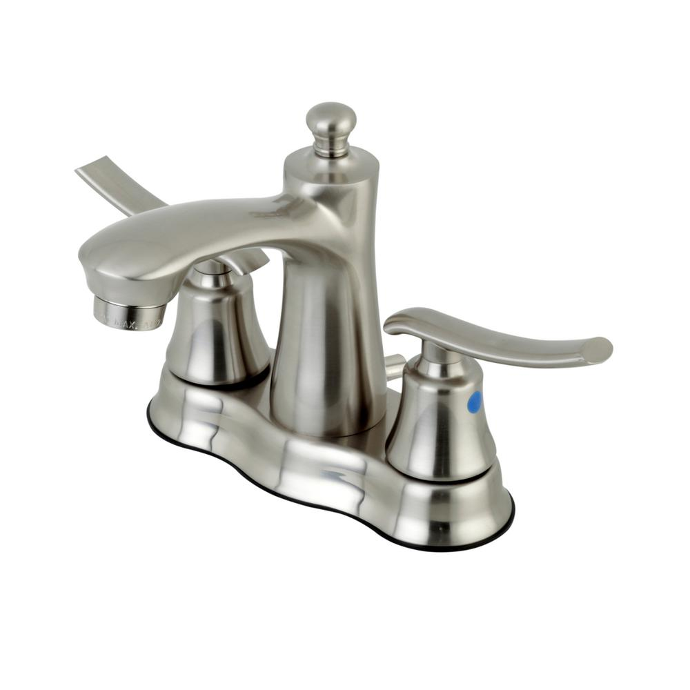 Kingston Brass Euro 4 In Centerset 2 Handle Bathroom Faucet In Satin Nickel Hfb7618jl The