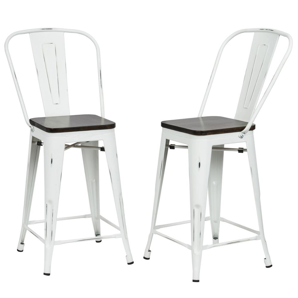 Ash 24 in. Antique White Wood Seat Counter Stool (Set of