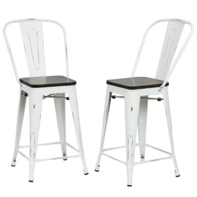 Ash 24 in. Antique White Wood Seat Counter Stool (Set of 2)
