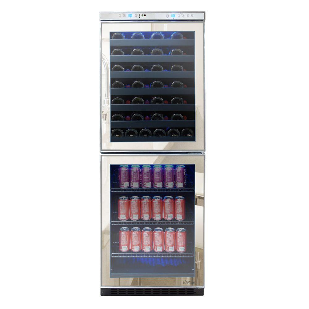 Vinotemp 23.5 in. 54-Bottle Mirrored Touch Screen Wine and Beverage Cooler