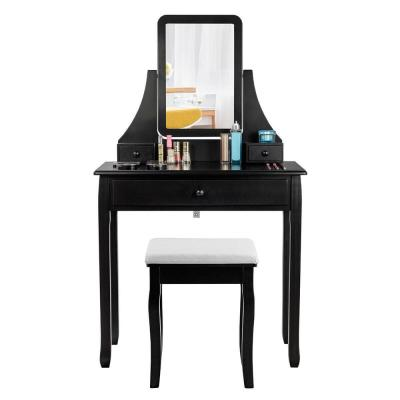 2-Piece Black Vanity Dressing Table Set Mirror Desk Furniture Stool with Mirror and 3-Drawer