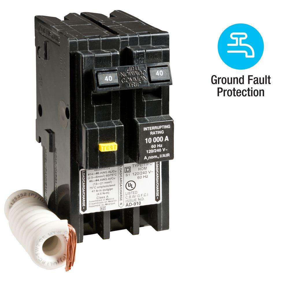 Square D Homeline 40 Amp 2-Pole GFCI Circuit Breaker-HOM240GFI - The ...