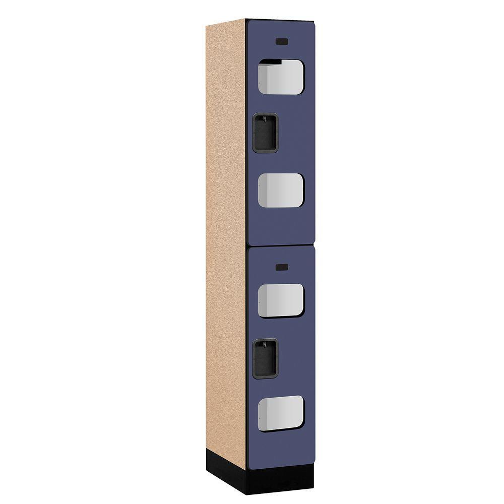 S-32000 Series 12 in. W x 76 in. H x 18 in. D 2-Tier See-Through Designer Wood Locker in Blue