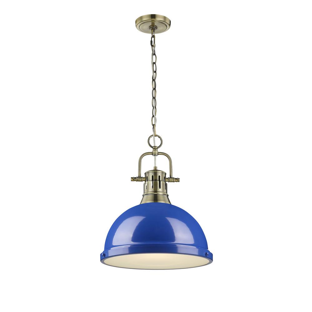 Duncan AB 1-Light Aged Brass Pendant with Blue Shade