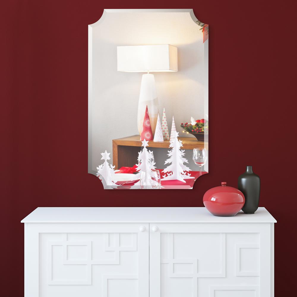 Frameless Beveled Rectangular Scalloped Wall Mirror Bathroom Mirror