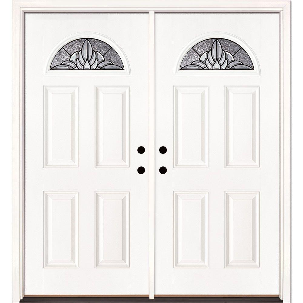 Feather River Doors 66 in. x 81.625 in. Sapphire Patina Fan Lite Unfinished Smooth Left-Hand Inswing Fiberglass Double Prehung Front Door