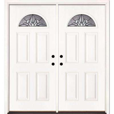 66 in. x 81.625 in. Sapphire Patina Fan Lite Unfinished Smooth Left-Hand Inswing Fiberglass Double Prehung Front Door